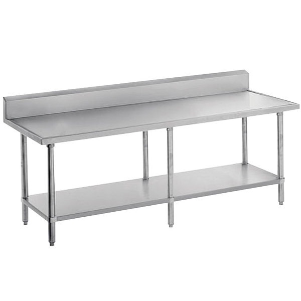 "Advance Tabco VKS-2411 Spec Line 24"" x 132"" 14 Gauge Work Table with Stainless Steel Undershelf and 10"" Backsplash"