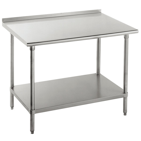 "16 Gauge Advance Tabco FAG-245 24"" x 60"" Stainless Steel Work Table with 1 1/2"" Backsplash and Galvanized Undershelf"