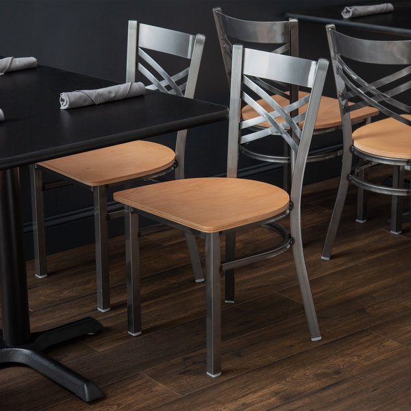 Lancaster Table & Seating Cross Back Clear Coat Steel Chair with Natural  Seat