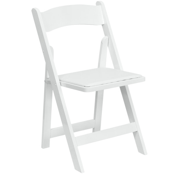 Flash Furniture XF 2901 WH WOOD GG White Wood Folding Chair With Padded Seat