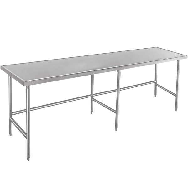 "Advance Tabco Spec Line TVLG-368 36"" x 96"" 14 Gauge Open Base Stainless Steel Commercial Work Table"