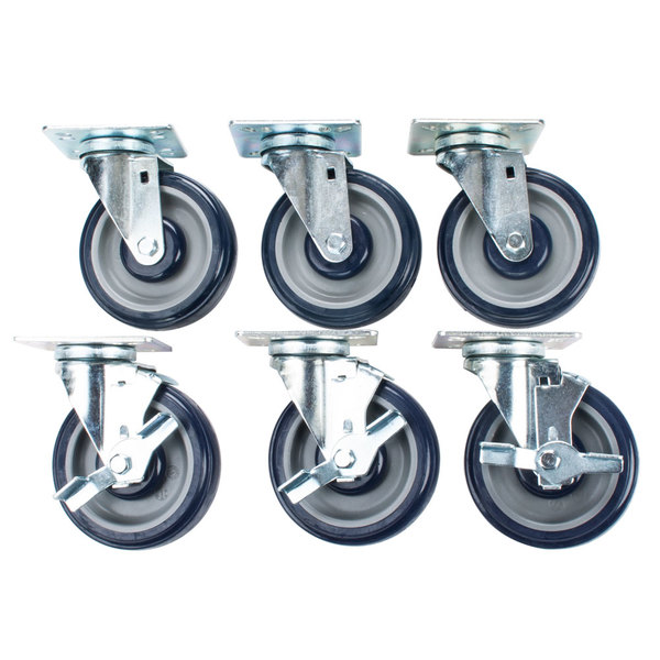 "Cooking Performance Group 5"" Plate Casters - 6/Set"