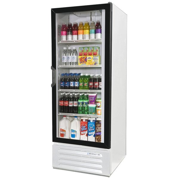 "Beverage Air LV12-1-W-LED White LumaVue 24"" Refrigerated Glass Door Merchandiser with LED Lighting - 12 Cu. Ft."