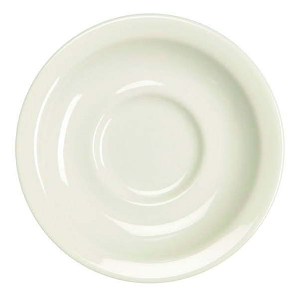 "Homer Laughlin 28300 5 1/2"" Ivory (American White) Narrow Rim China Texas Saucer - 36/Case"