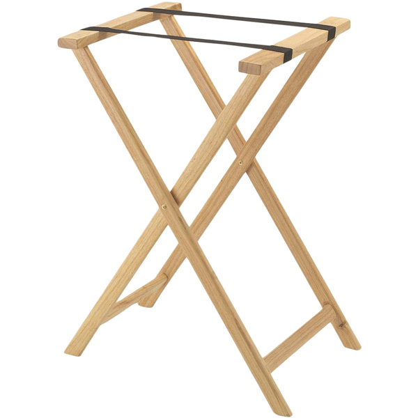 Aarco TS-1 Natural Folding Wood Tray Stand - 31""