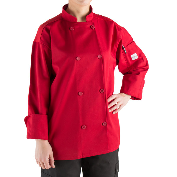 Mercer Culinary Millennia Air® M60017 Unisex Red Customizable Long Sleeve Cook Jacket with Full Mesh Back - XL Main Image 0