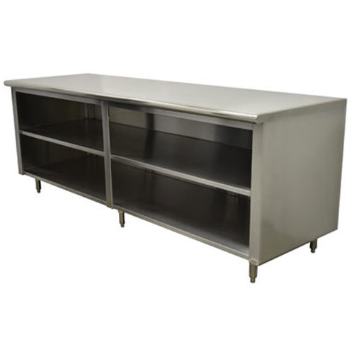 "Advance Tabco EB-SS-249M 24"" x 108"" 14 Gauge Open Front Cabinet Base Work Table with Fixed Mid Shelf"