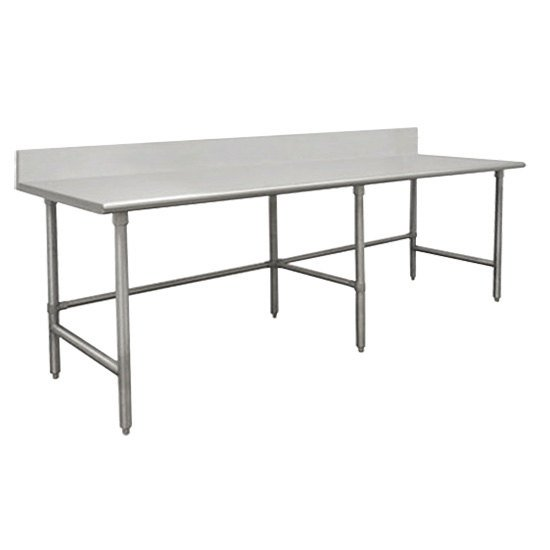 "Advance Tabco TVKG-2411 24"" x 132"" 14 Gauge Open Base Stainless Steel Commercial Work Table with 10"" Backsplash"