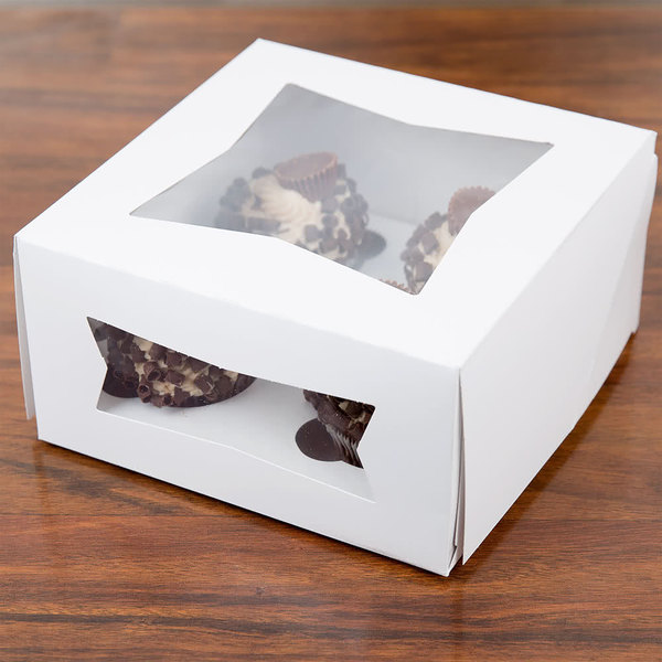 "Southern Champion Window Cupcake Box with Insert 8"" x 8"" x 4"" - 10/Pack"