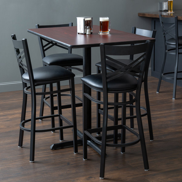 Lancaster Table Seating 30 X 48 Reversible Cherry Black Bar Height Dining Set