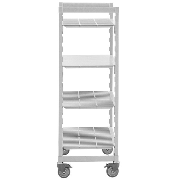 "Cambro Camshelving Premium CPHU244275S4480 Mobile Shelving Unit with 4 Solid Shelves - 24"" x 42"""