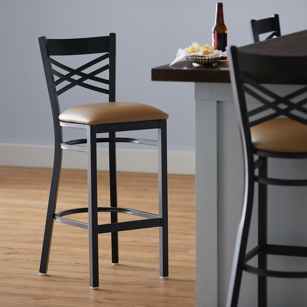 Lancaster Table Seating Cross Back Bar Height Black Chair With Light Brown Vinyl Seat