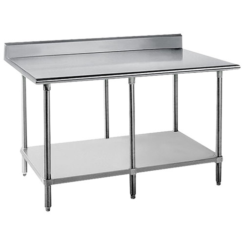 "Advance Tabco KSS-308 30"" x 96"" 14 Gauge Work Table with Stainless Steel Undershelf and 5"" Backsplash"