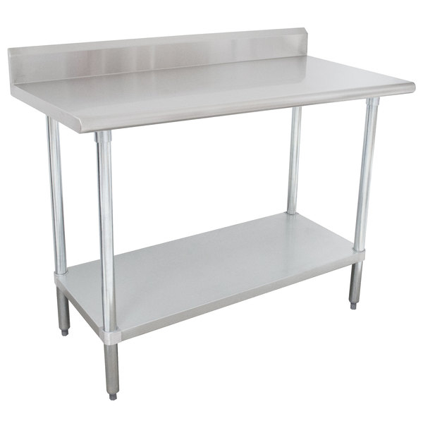 "16 Gauge Advance Tabco KLAG-243-X 24"" x 36"" Stainless Steel Work Table with 5"" Backsplash and Galvanized Undershelf"
