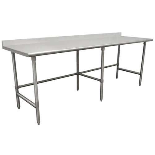 "Advance Tabco TSKG-3011 30"" x 132"" 16 Gauge Open Base Stainless Steel Commercial Work Table with 5"" Backsplash"