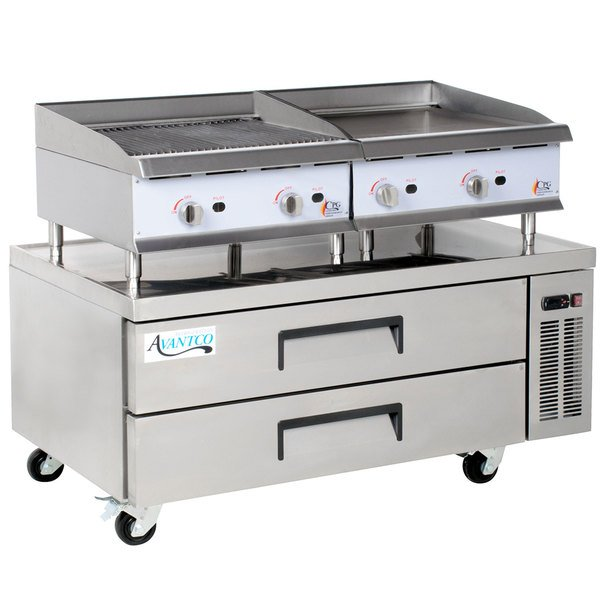 Cooking Performance Group 24GMCRBNL 24 inch Gas Griddle and Gas Radiant Charbroiler with 2 Drawer Refrigerated Chef Base - 140,000 BTU