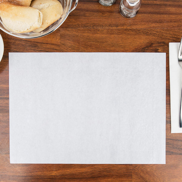 "10"" x 14"" White Embossed Dubonnet Placemat - 1000/Case"