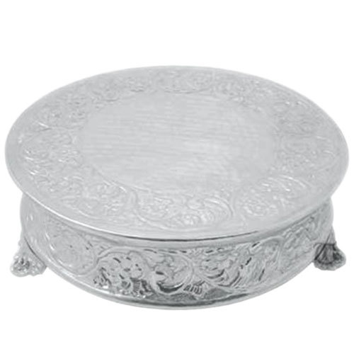 "Tabletop Classics AC-88516 16"" Ornate Nickel Plated Round Cake Stand"