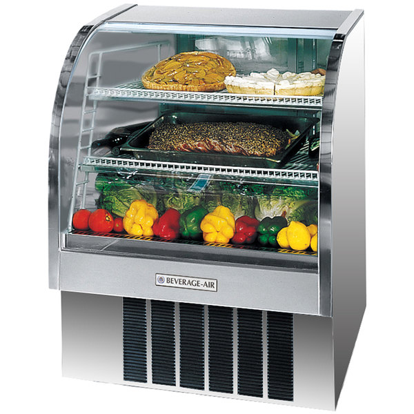 "Beverage Air CDR4/1-S-20 Stainless Steel Exterior Curved Glass Refrigerated Bakery Display Case 49"" - 18.1 Cu. Ft."
