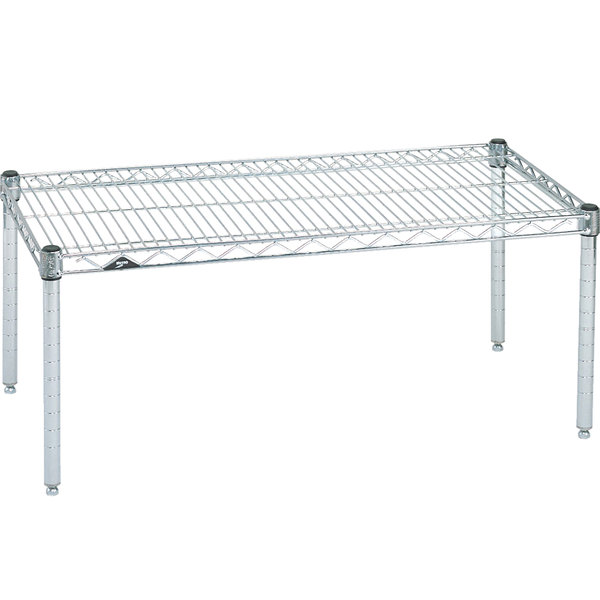 "Metro P2424NC 24"" x 24"" x 14"" Super Erecta Chrome Wire Dunnage Rack - 800 lb. Capacity"