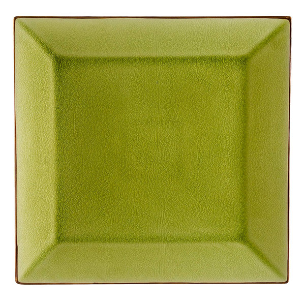 "CAC 6-S21-G Japanese Style 11 1/2"" Square China Plate - Golden Green - 12/Case"