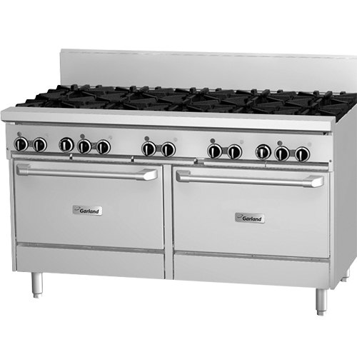 "Garland GF60-8G12RR Natural Gas 8 Burner 60"" Range with Flame Failure Protection, 12"" Griddle, and 2 Standard Ovens - 302,000 BTU"