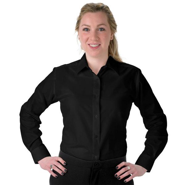 Henry Segal Women's Customizable Black Long Sleeve Dress Shirt - XS