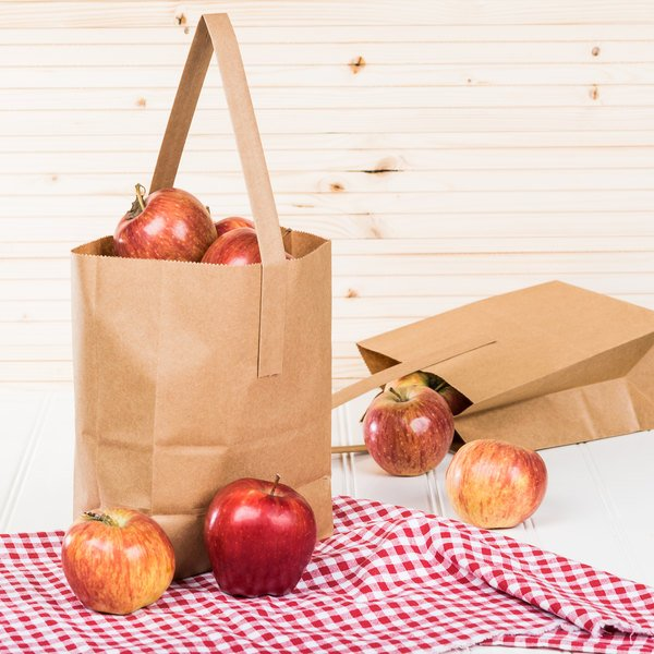 "1/4 Peck ""Freshman"" Natural Brown Kraft Paper Produce Customizable Market Stand Bag with Handle - 500/Case"