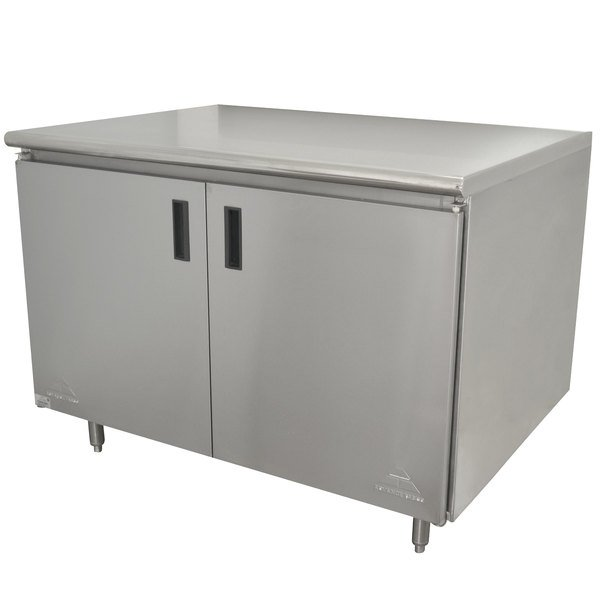 "Advance Tabco HB-SS-243 24"" x 36"" 14 Gauge Enclosed Base Stainless Steel Work Table with Hinged Doors"