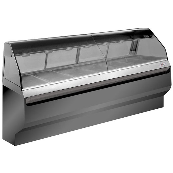 Alto-Shaam ED2SYS-96/PL SS Stainless Steel Heated Display Case with Curved Glass and Base - Left Self Service 96""
