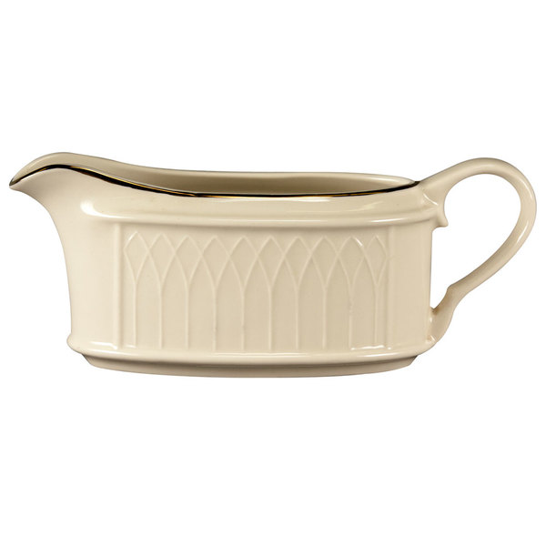 Homer Laughlin 1420-0319 Westminster Gothic Off White 11.75 oz. Sauce Boat - 12/Case