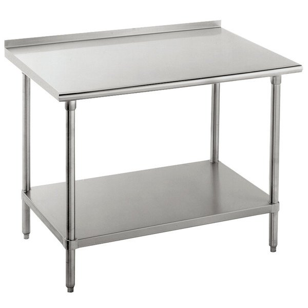 "Advance Tabco FLG-246 24"" x 72"" 14 Gauge Stainless Steel Commercial Work Table with Undershelf and 1 1/2"" Backsplash"