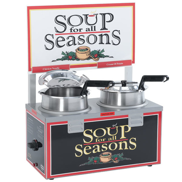 Nemco 6510A-2D4 Double Well 4 Qt. Soup Warmer with Header - 120V, 1000W