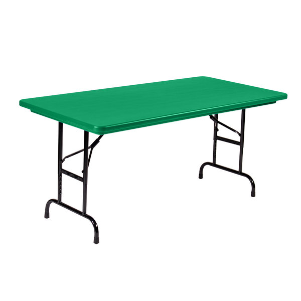 "Correll Adjustable Height Folding Table, 30"" x 60"" Plastic, Green - Standard Legs - R-Series RA3060"