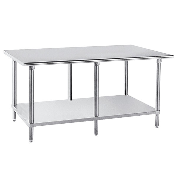 "Advance Tabco AG-3611 36"" x 132"" 16 Gauge Stainless Steel Work Table with Galvanized Undershelf"