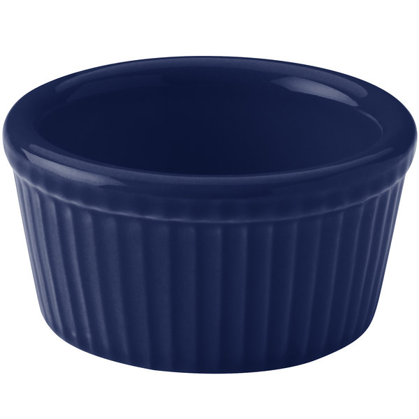 Hall China 30834105 Cobalt Blue 2.75 oz. Colorations Fluted Ramekin - 36/Case