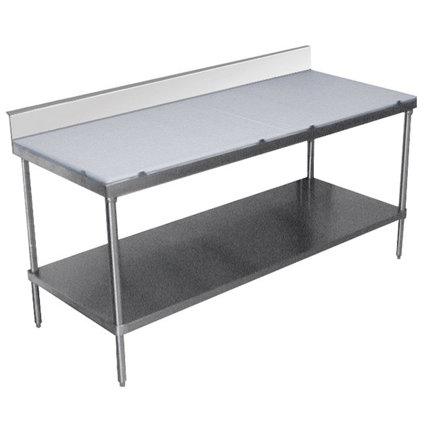 Advance Tabco Sps 306 Poly Top Work Table 30 X 72 With Undershelf And 6 Backsplash