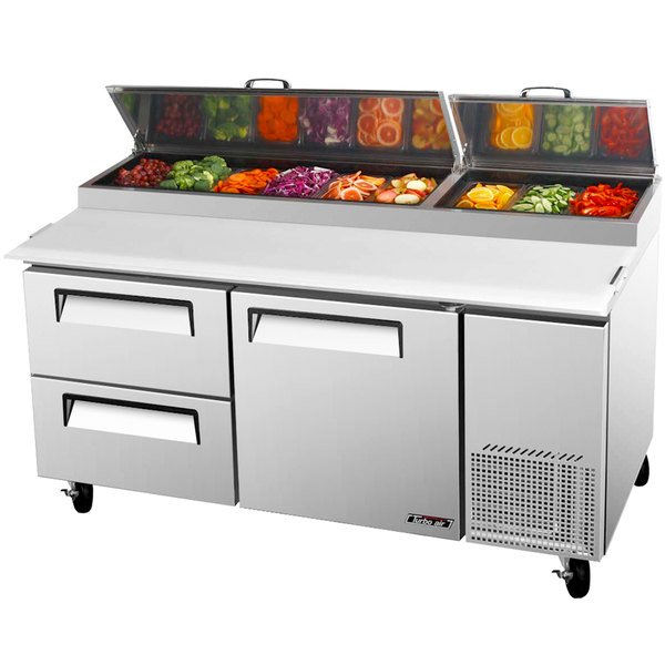 "Turbo Air TPR-67SD-D2 67"" Pizza Prep Table with One Door and Two Drawers"