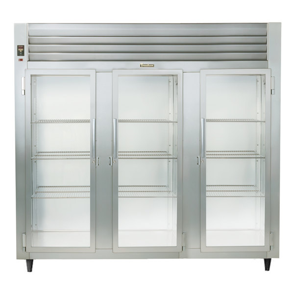 Traulsen Stainless Steel RHF332WP-FHG 83.2 Cu. Ft. Glass Door Three Section Reach In Pass-Through Heated Holding Cabinet - Specification Line