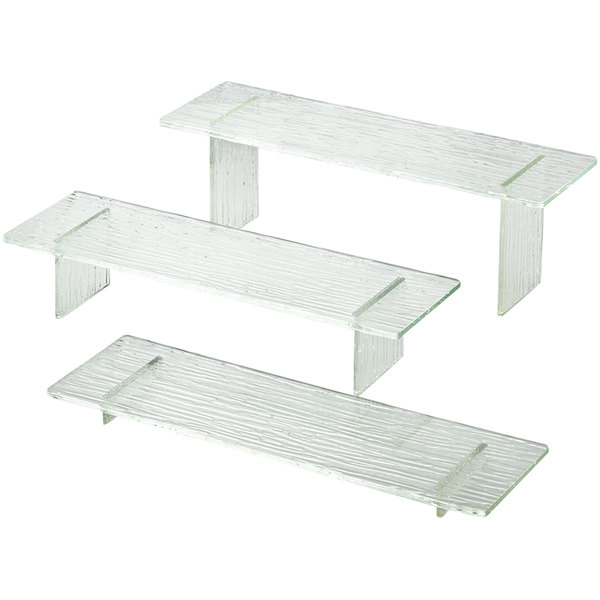 "Tablecraft ARL3 Cristal Set of Three Rectangle Acrylic Riser Set with Straight Legs - 1"", 3"", 5"""