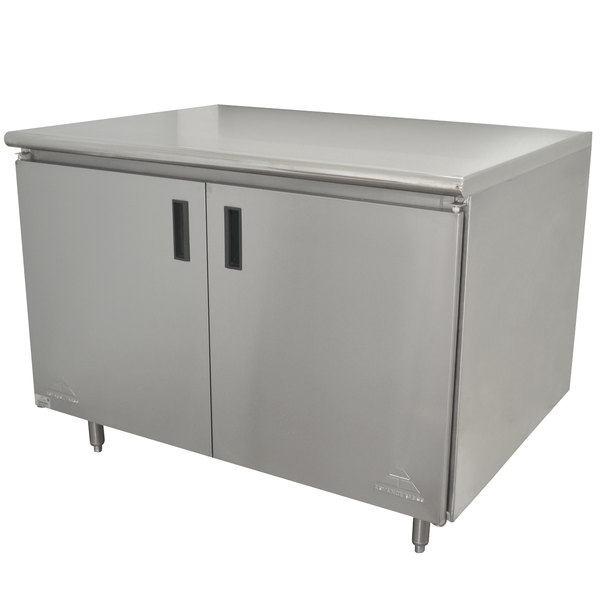"Advance Tabco HB-SS-245 24"" x 60"" 14 Gauge Enclosed Base Stainless Steel Work Table with Hinged Doors"