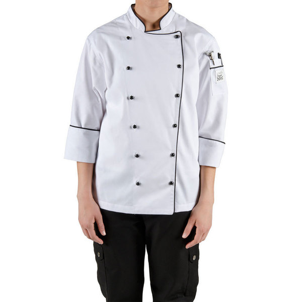Chef Revival Gold LJ044-M Ladies Chef-Tex Size 8 (M) Customizable Poly-Cotton Brigade Jacket with Black Piping