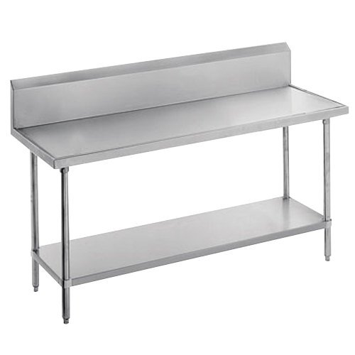 "Advance Tabco VKS-367 Spec Line 36"" x 84"" 14 Gauge Work Table with Stainless Steel Undershelf and 10"" Backsplash"