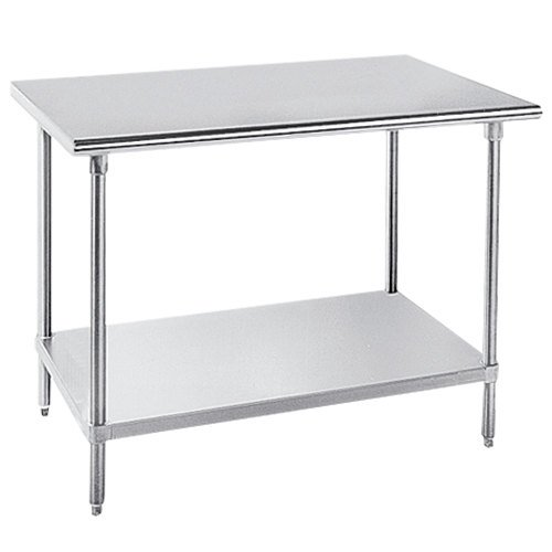 "Advance Tabco GLG-245 24"" x 60"" 14 Gauge Stainless Steel Work Table with Galvanized Undershelf"