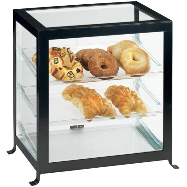 "Cal-Mil 1575-13 Soho Three Tier Black Display Case with Rear Doors - 21 1/4"" x 15 3/4"" x 20 3/4"""