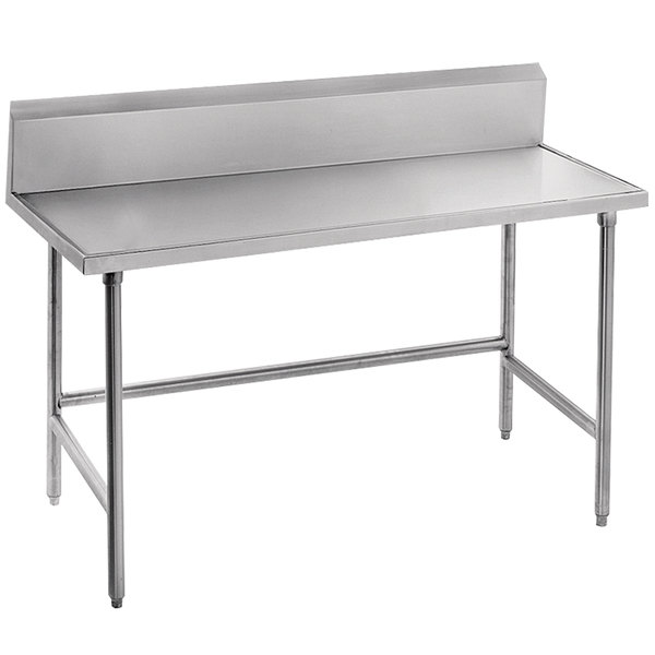 "Advance Tabco TVKG-367 36"" x 84"" 14 Gauge Open Base Stainless Steel Commercial Work Table with 10"" Backsplash"