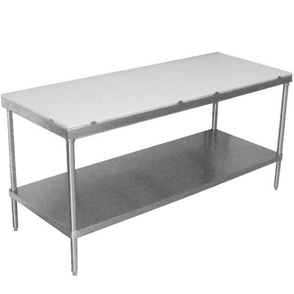 "Advance Tabco SPT-246 Poly Top Work Table 24"" x 72"" with Undershelf"