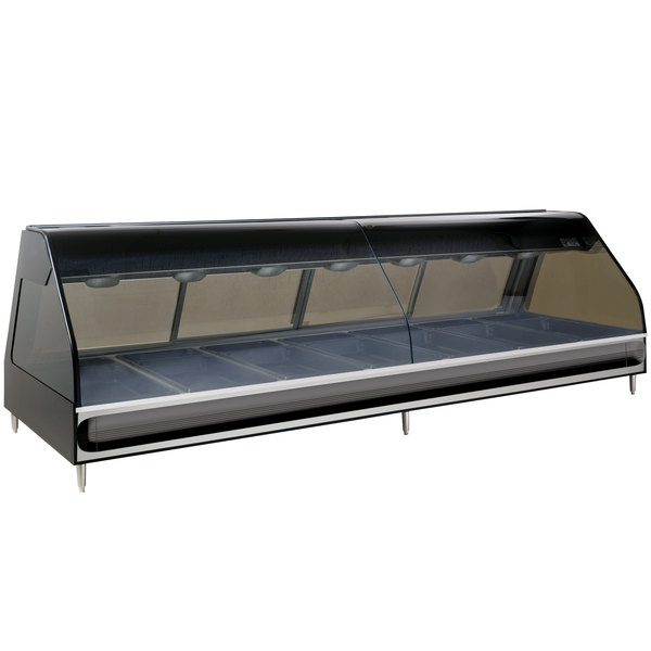 Alto-Shaam ED2-96/PR BK Black Heated Left Display Case with Curved Glass - Right Self Service 96""