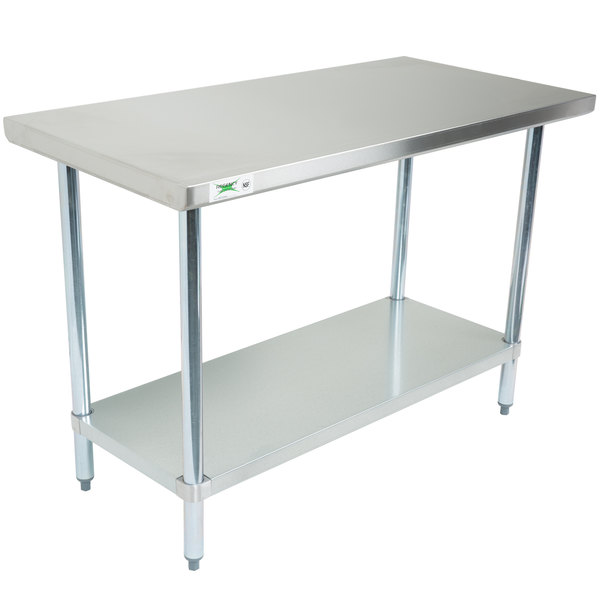 stainless steel work table with double sink top regency gauge commercial galvanized legs shelves