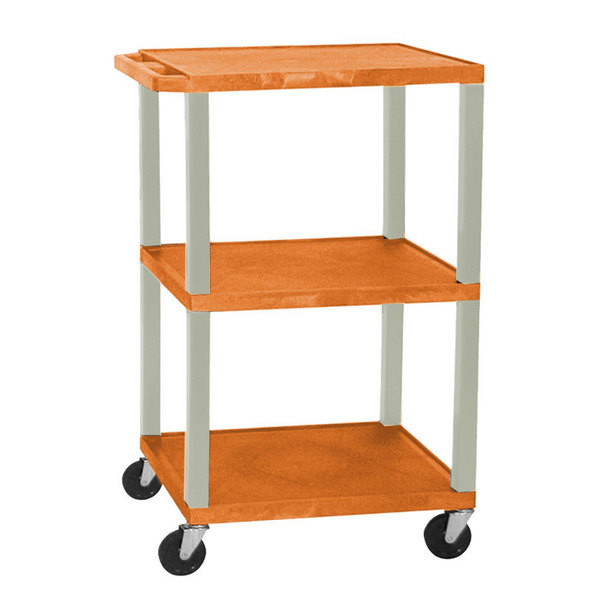 "Luxor / H. Wilson WT1642E Orange Tuffy Open Shelf A/V Cart 18"" x 24"" with 3 Shelves - Adjustable Height"